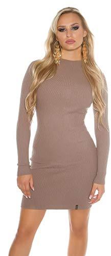 Koucla Damen Strickkleid Feinstrick Ripp Kleid Minikleid Stehkragen | Long Pullover Pullikleid gerippt | cappuccino 32 34 36
