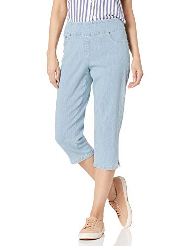 Ruby Rd. Women's Pull-on Extra Stretch Denim Cropped Capri, Chambray Wash, 6