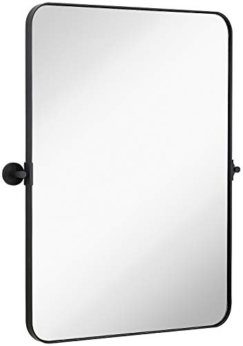 Hamilton Hills Black Metal Surrounded Round Pivot Mirror | Silver Backed Adjustable -