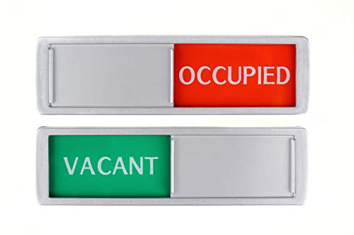 Vacant Occupied Sliding Sign XL - Green/Red Text Slider - 17,5 x 5 x 0,7 cm - Mounting strong 3M Stickers.