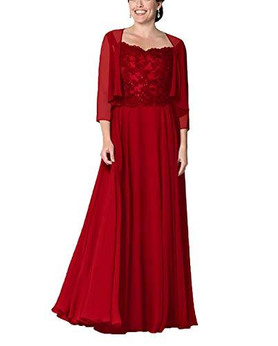 HUINI Abendkleider Lang Elegant Ballkleid Hochzeitskleid Damen Spitzen Brautmutterkleider mit Bolero Festkleider Langarm Rot 36