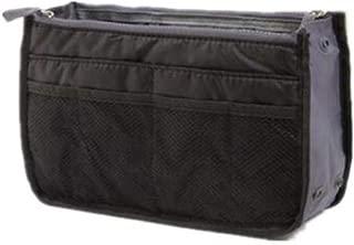 Multifunction Women Ladies Travel Insert Pockets Handbag Comestic Organiser Gadget Portable Expandable Tidy Pouch Purse Double Zipper Nylon(Grey)