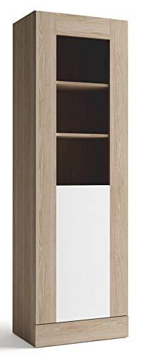 Miroytengo Mueble Vitrina salón Comedor 1 Puerta con Cristal Estilo Moderno Color Blanco y Sable 191x60x40 cm