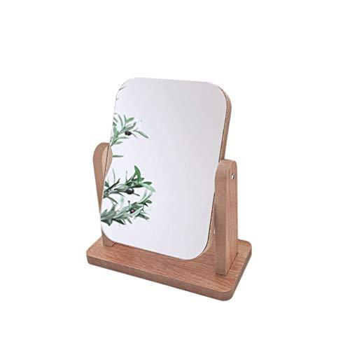 Miroir lumineux Bois Petit Miroir, Miroir rectangulaire Chambre Boy 360 ° Rotation bureau Miroir style japonais Beauté Mirror 21 * 18 * 9cm Maquillage et miroir (Color : A, Size : 21 * 18 * 9CM)