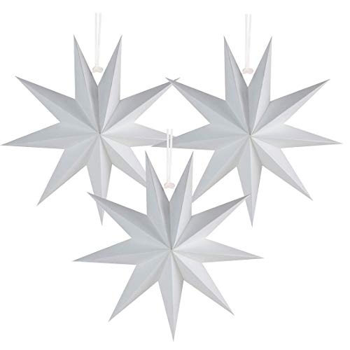 Easy Joy 9-Pointed Paper Star 3D Paper Hanging Christmas Decorations Wedding Birthday Baby Shower Room Christmas Ornaments Party Supplies, 3 Pcs 12' (White)