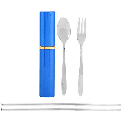 SALUTUYA Cuchara portátil Tenedor Palillos Cubiertos Cubiertos Juego de vajilla de Viaje, para Acampar(Blue)