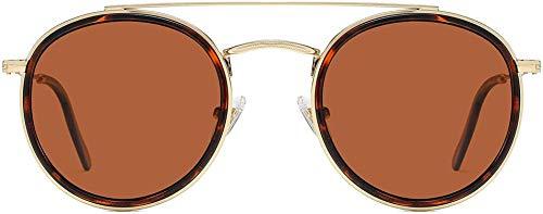 Xiying Gafas de sol pequeñas retro redondas polarizadas gafas de sol lente UV400 - dorado - talla única