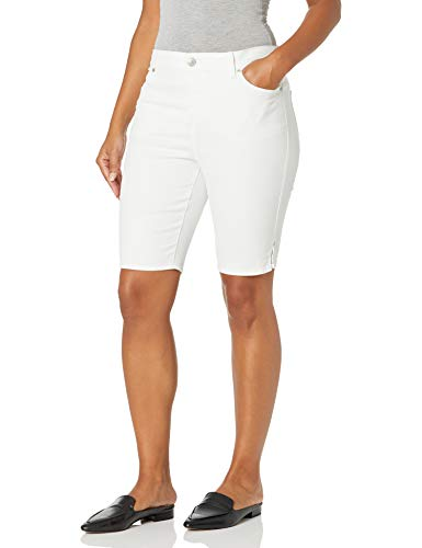 Gloria Vanderbilt Women's Mid Rise Belted Jean Bermuda Short, Vintage White, 12