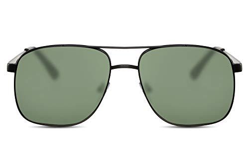 Cheapass Gafas de Sol Metálicas Macho Gafas Piloto Montura Negra y Cristales Verdes Hombre Protección UV400