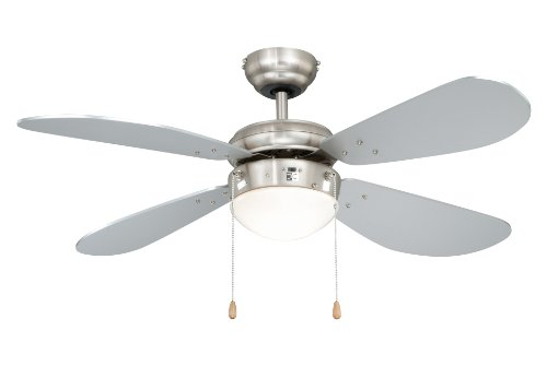 Deckenventilator mit Beleuchtung Classic, Gehäuse Nickel, Flügelfarbe Silber, 105 cm