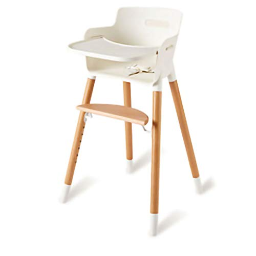 Mitwachsender Hochstuhl, 3 Punkt Gurte Babyhochstuhl Holz, Treppenhochstuhl inkl. abnehmbares Tischchen, Füttern...