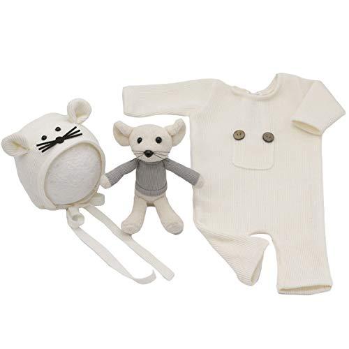 Yinuoday Neugeborenes Foto Strampler Neugeborene Fotografie Requisiten Cute Little Mouse Hut + Ratte Puppe Set Baby Foto Kostüm Outfits für 0-12M Baby Mädchen Jungen