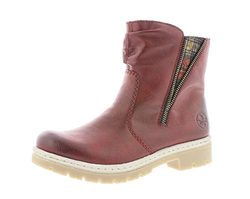 Rieker Damen Stiefel, Frauen Winterstiefel, gefüttert warm weiblich Lady Ladies feminin elegant Women's Women Woman,Wine,38 EU / 5 UK