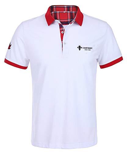 COOFANDY Poloshirt Herren Kurzarm Einfarbig Basic Kurzarmshirt Regular Fit Polohemd Freizeit Polo Kragen Poloshirt Weiß XXL