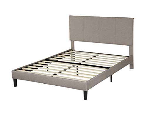 Infini Furnishings Upholstered Fabric Frame, Comfy Bed with Upholstery Headboard, Strong Wood Slats Platform, Full Size, Grey
