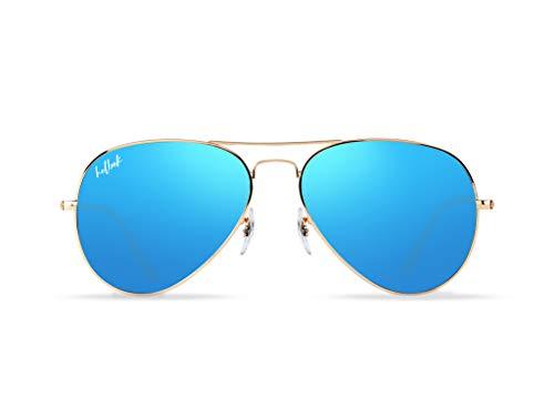 HELBEK ORVILLE | Gafas de Sol aviador. Ligeras y Resistentes - Protección UV400 + Lentes Polarizadas. [Azul Espejo]