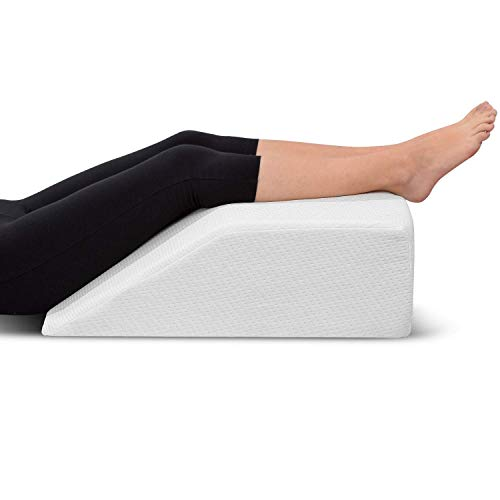 Leg Elevation Pillow - with Memory Foam Top, High-Density Leg Rest Elevating Foam Wedge- Relieves Leg Pain, Hip and Knee Pain, Improves Blood...