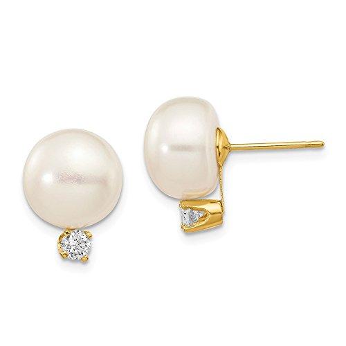 Pendientes de oro amarillo de 14 quilates con botón blanco y perlas FW y diamantes