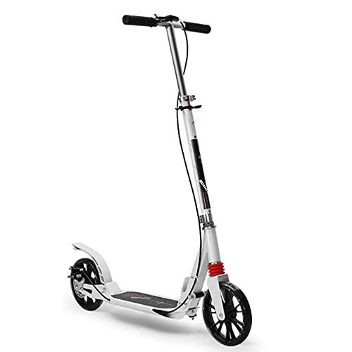 Scooter de dos ruedas, scooter de empuje plegable con freno de mano, ruedas de 200 mm, con absorción de golpes y manillares ajustables, adecuados para adolescentes / adultos mayores de 8 años,Blanco