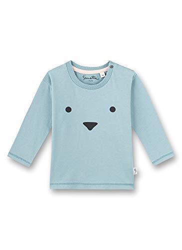 Sanetta Camiseta de manga larga con cara de animales de algodón orgánico 100%. azul 74 cm
