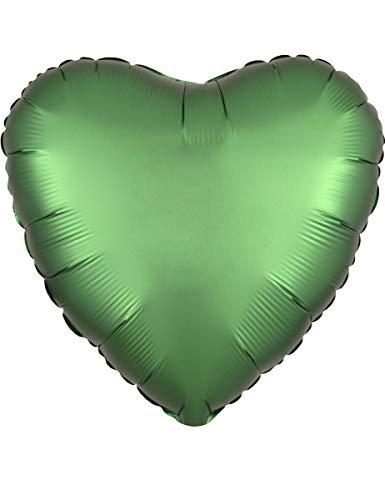 amscan 3858701 Folienballon Standard Satin Luxe Emerald Herz, Grün