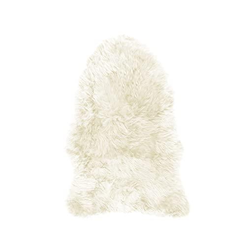 JAP Natur Schaffell Lammfell aus Island - Teppich - Pflanzlich Gegerbt - Ökologisch Naturfell - Wollteppich - Dekoration - Weiß