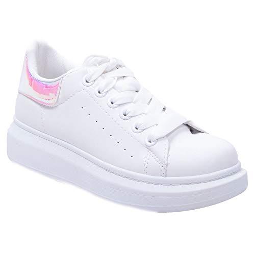 Primtex Sneaker platevorm dames wighak kunstleer wit met fluwelen bekleding dikte zool