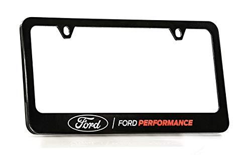 Ford Performance Wordmark Black Coated Zinc Metal License Plate Frame Holder Wide Bottom Engraved 2 Hole