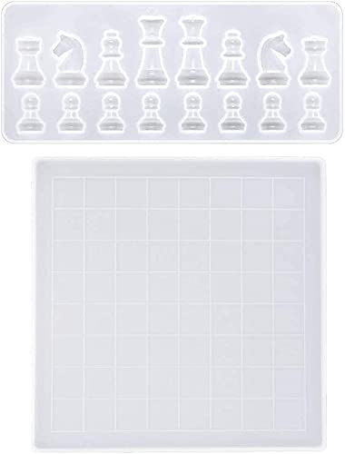 hwljxn Molde de Resina de Silicona/de Silicona, Tablero de ajedrez Creativo y Forma de ajedrez, moldes de Resina epoxi de Silicona para artesanía de Bricolaje.