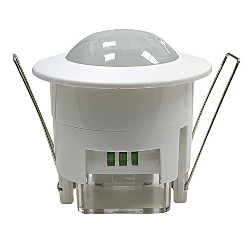 Detector Presencia. Sensor de Movimiento Para Techo Empotrable. Compatible LED. Interruptor automático por Movimiento. Angulo deteccion 360 Grados.