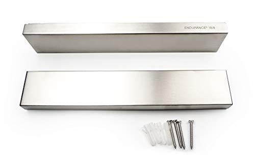 RSVP Endurance 18/8 Stainless Steel Deluxe Magnetic Knife Bars, Set of 2, 10-inch