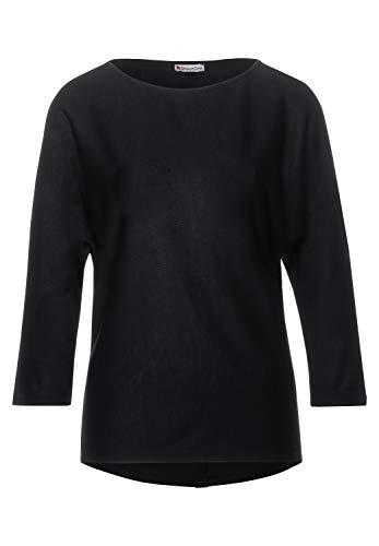 Street One Damen 315260 Fledermaus Schnitt mit dekorativer Knopfleiste im Rücken T-Shirt, Black, 42