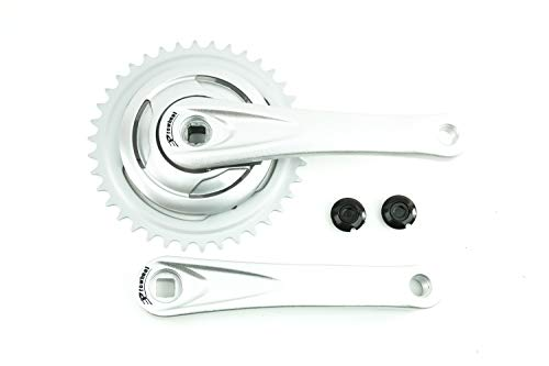 Fahrrad Alu Kurbel Garnitur 1 Fach Single Speed 38 Zähne Kettenblatt Antrieb 170mm Armlänge Silber