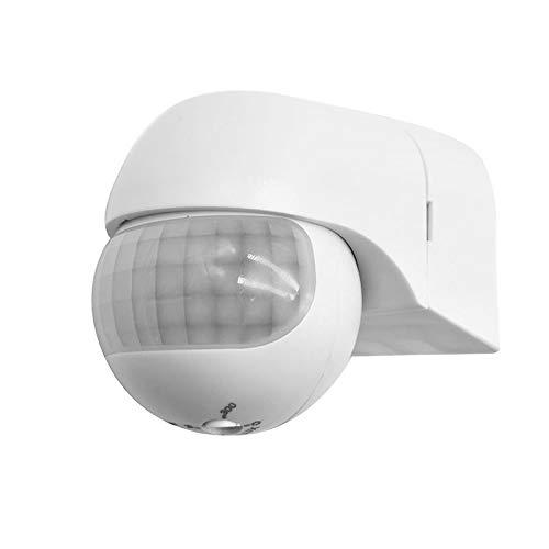 Houkiper Detector de Movimiento Sensor infrarrojo PIR, Montaje Exterior, Máx. Alcance de 30 m, orientable 180°.