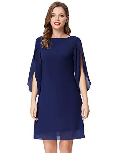 Damen Sommer Kleid Chiffon 3/4 Ärmel Loose Fit Casual Midi Cocktailkleid XL Navyblau CL888-6