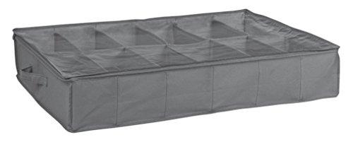 House Box HOUSRA008 Housse de Rangement pour Chaussures de 12 Paires avec Fenêtre Synthétique Gris/Transparente 75 x 60 x 15 cm