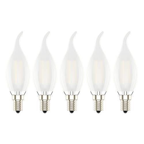5er-Pack 4W Nicht Dimmbar LED Lampe in Kerzenform mit E14 Fassung,Ersetzt 30 Watt,LED Filament Kerze Birne Windstoß Matt Warmweiß 2700K