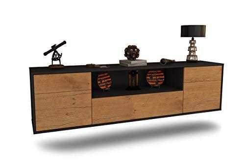 Dekati Lowboard Mainz hängend (180x77x35cm) Korpus anthrazit matt   Front im Holz-Design Eiche   Push-to-Open