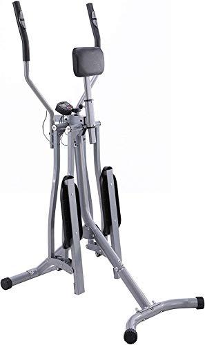 Nova Cross Trainer con Display LCD, Carico Massimo 120 kg, Sensore di Frequenza Cardiaca e Supporto Addominale, Acciaio - Air Walker, Stepper con Manubrio