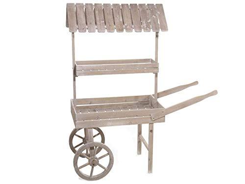 Gruppo Maruccia Carrito expositor de madera con dos estantes mueble porta plantas y flores para la casa expositor para mercadillos y ferias expositor para tiendas y escaparates