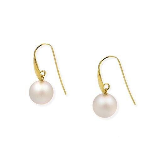 Pendientes de plata con perla Swarovski (Chapado en oro amarillo)