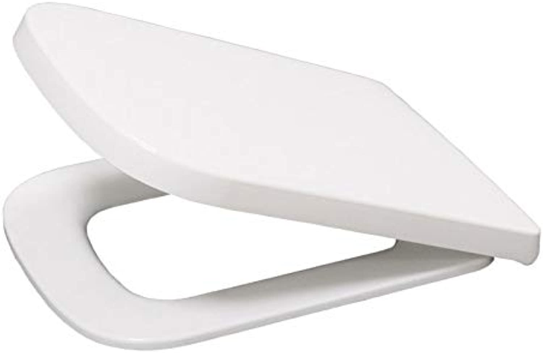 Toilettensitz mit integriertem WC-Sitz WC-Deckel mit verstellbarem Scharnier Harnstoff-Formaldehydharz Antibakterieller Toilettensitz für abgerundete quadratische Toilette