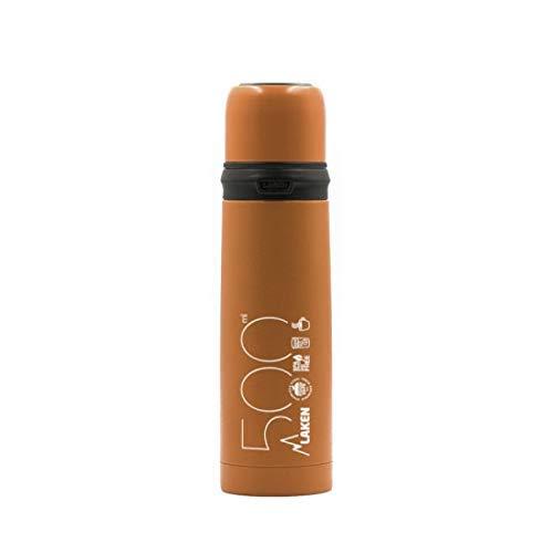 Laken thermosfles voor volwassenen, roestvrij staal, deksel en beker, oranje, 750 ml