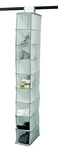 COMPACTOR Étagère Souple Suspendue pour Chaussures et Vêtements, 9 Compartiments, Fixation par Scratch, Jusqu'à 6kg, Blanc, Polypropylène, 15 x 30 x H. 128 cm, RAN1259