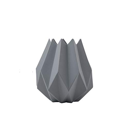 Simple and Light Ceramic Vase Modern Art Dried Flower Ornament Decoration JSFQ (Color : Gray)