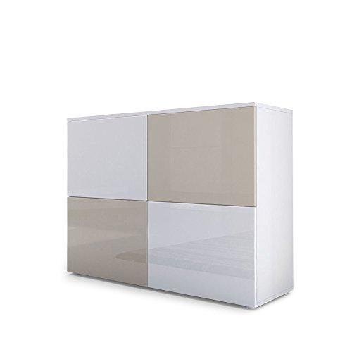 Vladon Kommode Sideboard Rova, Korpus in Weiß matt/Türen in Weiß Hochglanz und Sandgrau Hochglanz