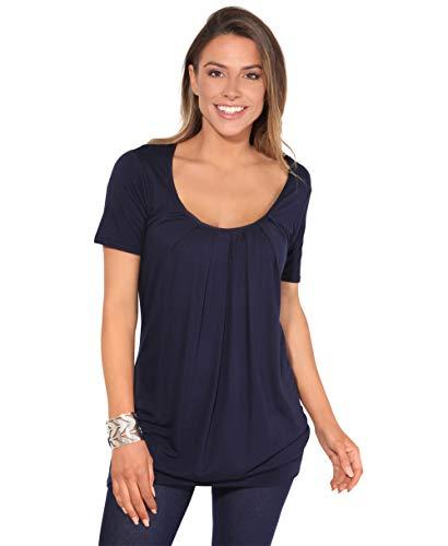 KRISP Damen Langes Gerafftes Shirt mit Breitem Bund (Marineblau, Gr.36) (5079-NVY-08)