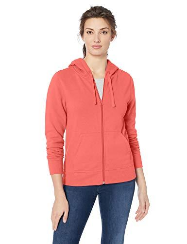 Amazon Essentials French Terry Full-Zip Fashion-Hoodies, Helles Korallenrot, US S (EU S - M)