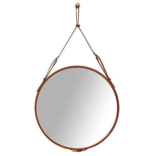 FENGMI Ronde Muur Badkamer Spiegel Persoonlijke Spiegels met Opknoping Band Wandmontage Moderne Leer Ingelijste Vanity