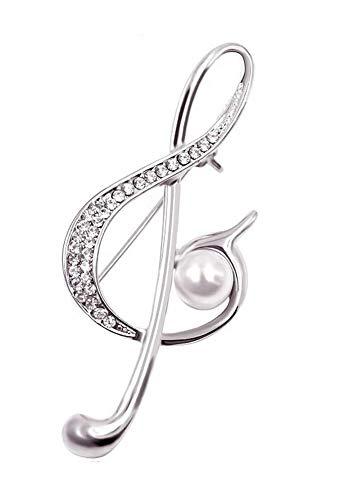 Broche de clave de suelo plateado con cristales de color blanco y perla nacarada